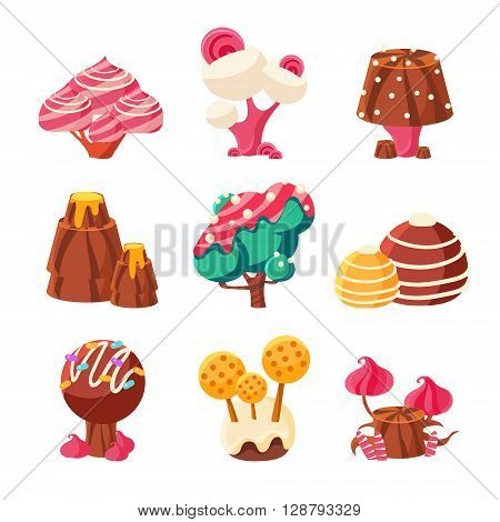 Fantasy Sweet Trees Set Of Colorful Simple Design Vector Drawings Isolated On White Background