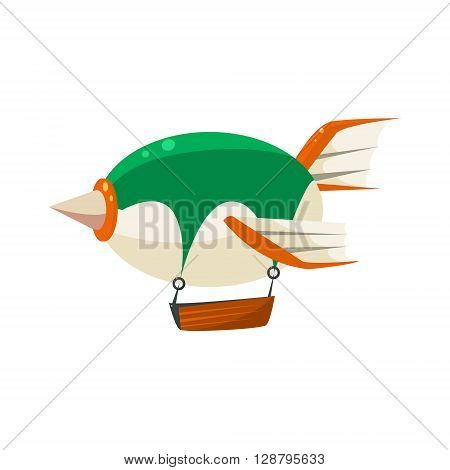 Fantastic Dirigible Toy Aircraft Glossy Vector Drawing In Childish Fun Style Isolated On White Background