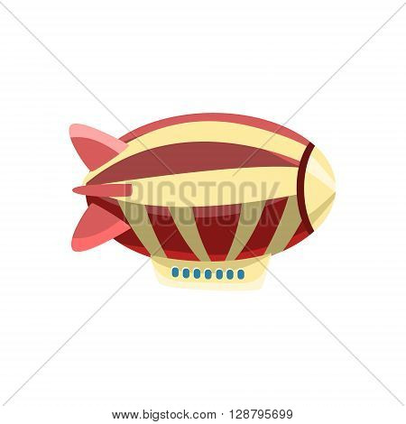 Zeppelin Toy Aircraft Glossy Vector Drawing In Childish Fun Style Isolated On White Background
