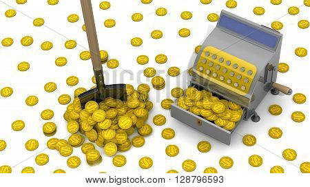 Financial success. The open cash register filled with USA coins shovel and a lot of coins on a white surface. The concept of financial success. 3D Illustration poster