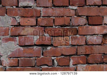 old rough brickwork building closeup thorough inspection