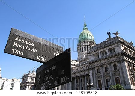 The Congress building in Buenos Aires Argentina.