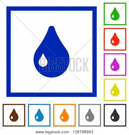 Set of color square framed drop flat icons on white background