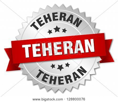 Teheran round silver badge with red ribbon