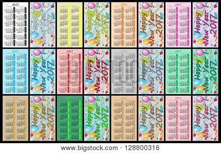 Pocket calendar 2017 on black background - Illustration, Set Colorful Pocket Calendars For 2017,