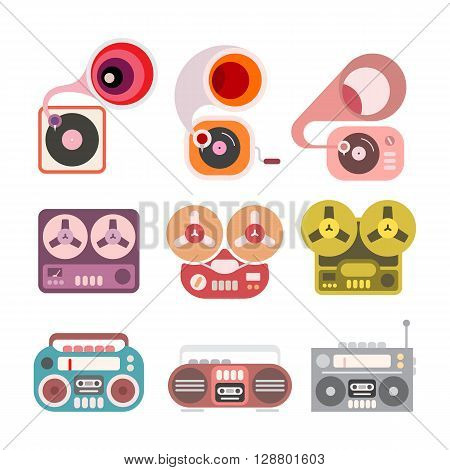 Gramophone and tape player flat vector icons isolated on a white background. Boom box tape recorder and gramophone.