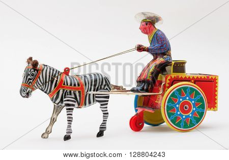 Tin-Toy Series - Man With Zebra Pulling Cart