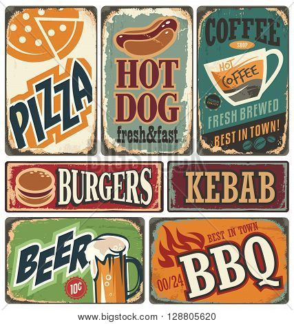 Vintage restaurant signs collection. Retro food posters and design elements. Promotional vector ads set on old scratched background. Burger, Kebab, Pizza, Beer, Coffee, Grill, Hotdog illustrations.