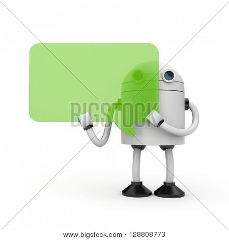 Robot with speech bubbles. 3d illustration