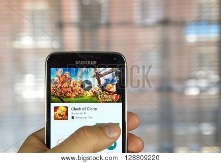 MONTREAL CANADA - APRIL 5 2016 : Clash of Clans game on android device. Clash of Clans is a freemium mobile MMO strategy video game developed and published by Supercell.