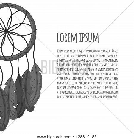 Vector illustration with cartoon dreamcatcher and text space. Vector card with tribal symbol. Boho hippie mandala card. Cartoon traditional tribal dreamcatcher for card background. Ethnic style