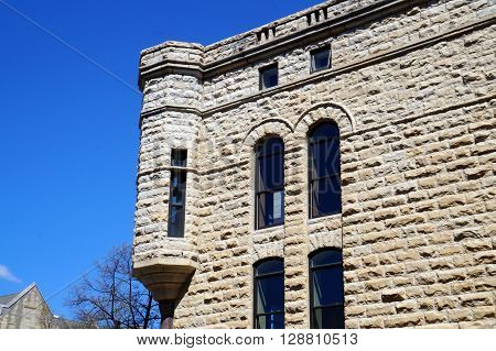 A turret on the side of the old Saint John's Universalist Church in downtown Joliet.