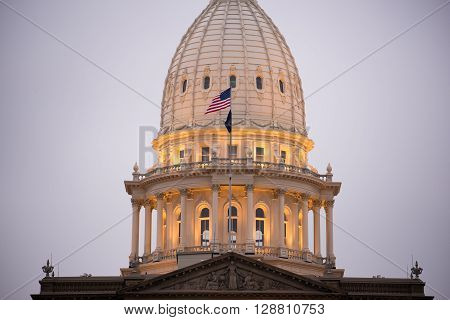 Night Falls Capital Building Lansing Michigan Downtown City Skyline