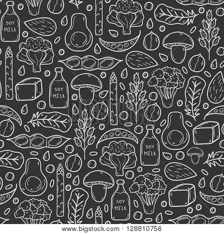 Seamless background with cartoon hand drawn objects on vegan source of protein theme: tofy soya beans and milk quinoa lentil chia. Healthy vegetarian food concept for your design
