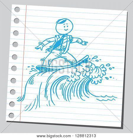 Businessman surfing on waves