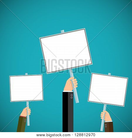 People hold signs in their hands. Pickets and demonstrations. Stock vector illustration.