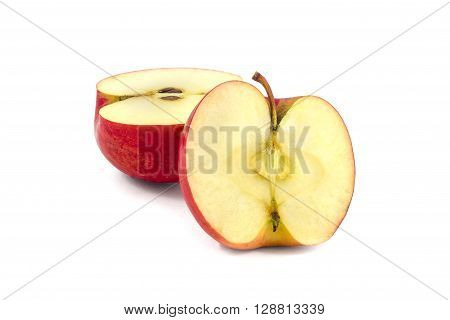 red apple devided on two halfs on a white background