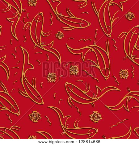 Chinese vector seamless pattern with ornamental fish. Golden fish contours with shadow on a red background.