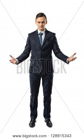 Cutout business guy raised his hands mimicking shape of something big. Ownership. Great fortune. Business staff. Office clothes. Dress code. Presentable appearance. Self-confidence.