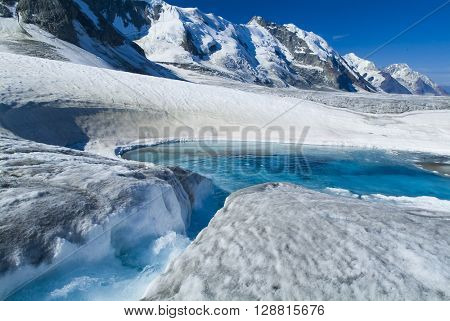 Glacier melt in bright sunshine global warming climate change ice water aqua blue
