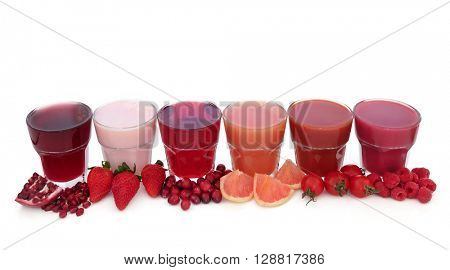 Fruit juice health drinks and smoothies with corresponding fruits. High in antioxidants, anthocyanins and vitamins.