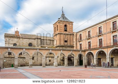 AVILA,SPAIN - APRIL 23,2016 -Small Market place of Avila. Avila is a Spanish town located in the autonomous community of Castile and Leon .