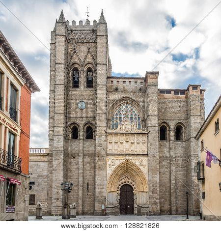 AVILA,SPAIN - APRIL 23,2016 -Roman - Gothic Cathedral El Salvador of Avila  . Avila is a Spanish town located in the autonomous community of Castile and Leon .