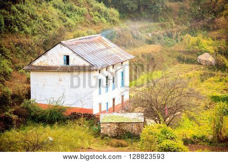 Traditional style beautiful houses of Nepali village near the forest in ChitlangNepal.