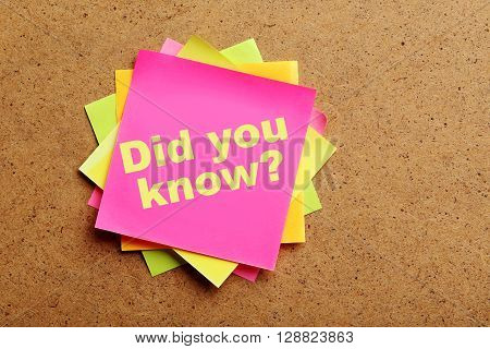 Sheet of paper on brown wooden background, did you know