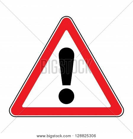 Hazard warning attention sign. Icon in a red triangle with exclamation mark symbol isolated on a white background. Traffic symbol. Stock vector illustration