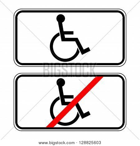 Disabled sign in the white rectangle. Handicapped person icon isolated on white background. No Ban or Stop signs. Prohibiting sign and permissive sign for the disabled. Stock Vector Illustration