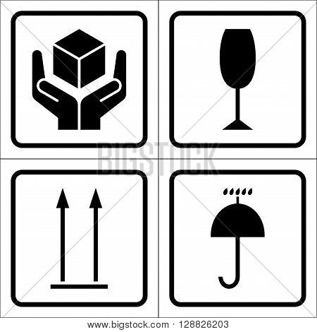 Packaging symbols in a squares. Fragile icon Keep dry icon This side up icon Handle with care icon. Fragile cardboard black signs isolated on a white background. Stock vector illustration
