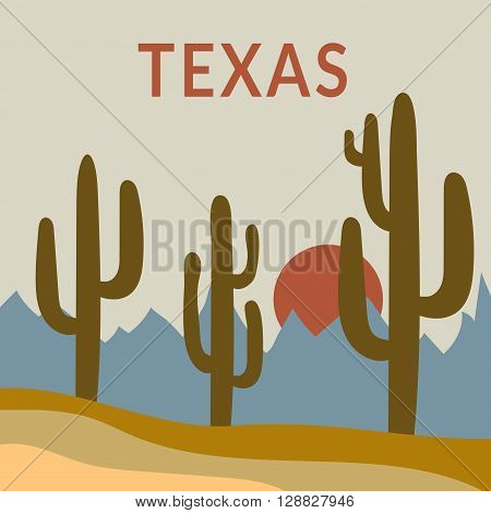 Texas Typography Graphics. Fashion stylish printing design for sportswear apparel. Western Desert Landscape Sunrise with cactus sun mountains. Concept in modern style for print production. Vector