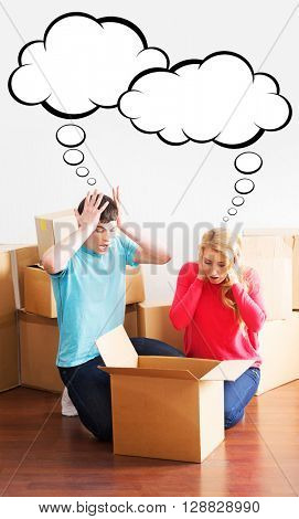 Young couple facing the problem after unpacking box. Comics concept.