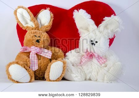 white and brown plush rabbits on a background a red  plush heart