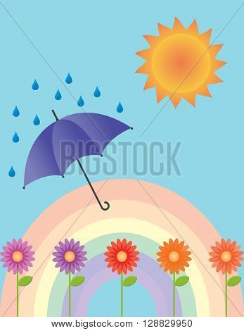 An illustration of a rainbow, flowers, umbrella, rain and the sun.