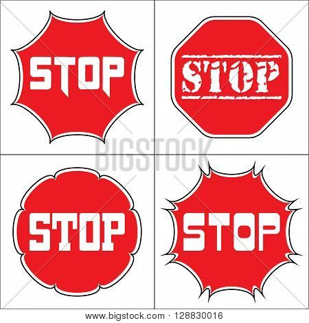 STOP. Traffic stop sign on pure white. Set of red octagonal stop signs for prohibited activities. Set a stop sign in the octagon of different shapes. Different fonts. Stock Vector illustration