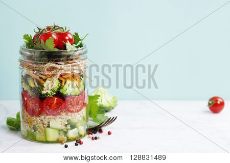 Healthy Homemade Mason Jar Salad with Quinoa and Vegetables - Healthy food, Diet, Detox, Clean Eating or Vegetarian concept