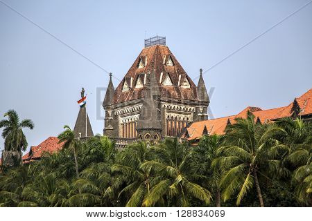 Top of the building of Bombay High Court in Mumbai, India