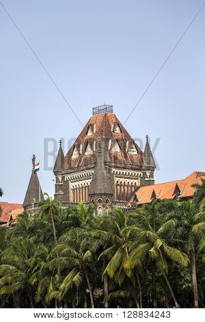 Top of the building of Bombay High Court in Mumbai India