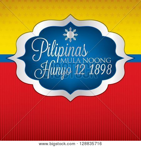 Elegant Label Philippine Independence Day Card In Vector Format.