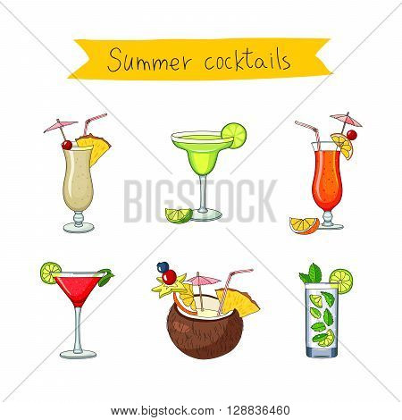 Set icons of different cocktails. Bright summer tasty alcoholic cocktails. Pina colada tequila sunrise margarita mojito coconut cosmopolitan. Vector illustration on white background.