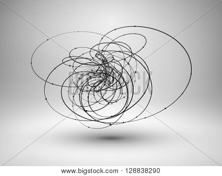 Abstract wire element with connected lines and dots. Wave tech background. Vector Illustration EPS10.