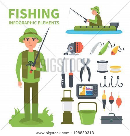 Fishing set of infographic elements. Vector illustration.
