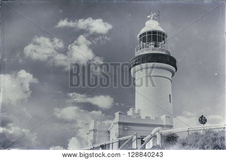 Cape Byron lighthouse in NSW, Australia with added scratches, dust spots and grain to create an aged effect.