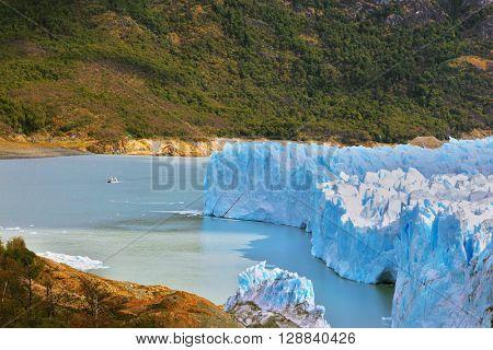 Los Glaciares National Park in Argentina. Colossal Perito Moreno glacier in Lake Argentino. Sunny summer day