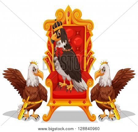 Three eagles sitting in the throne illustration