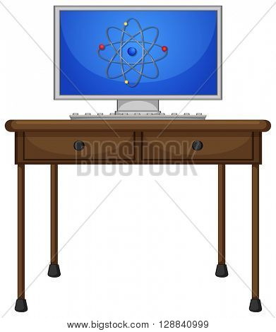 Computer on the wooden table illustration
