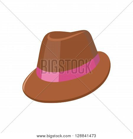 Summer hat isolated on white background. Fashionable brown Panama hat with red ribbon for protection from sun and rain weather conditions. Garment for wearing on the head. Vector illustration