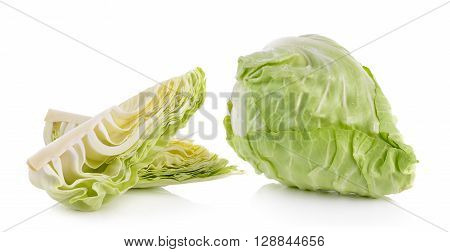 A cabbages are on the white background